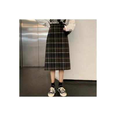 【送料無料】レトロ 風 スカート 初秋 韓国風 ファッション トレンドカラー グリッド でしょ | 364331_A63716-8822162