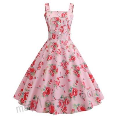 レディースロング丈ドレス 吊りワンピース ドレス フランス復古風ドレス大きい裾ワンピースビーチドレス ダンス衣装 団体服普段着
