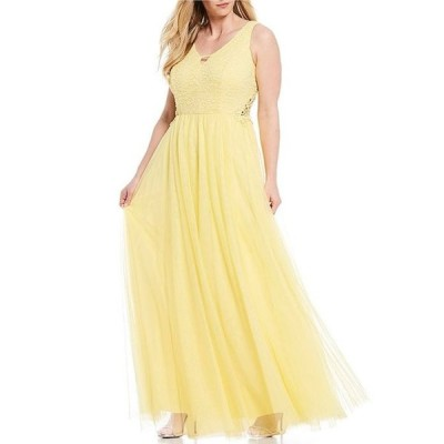 シティヴァイブ レディース ワンピース トップス Plus Sleeveless Lace Bodice Long Dress