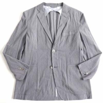 美品▽バーバリーロンドン ストライプ柄 シルク混 シングルジャケット/テーラードジャケット グレー M 正規品 メンズ