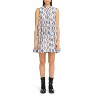 クロエ CHLOE レディース ワンピース ベビードール ワンピース・ドレス Ceramic Print Babydoll Silk Dress White/Blue