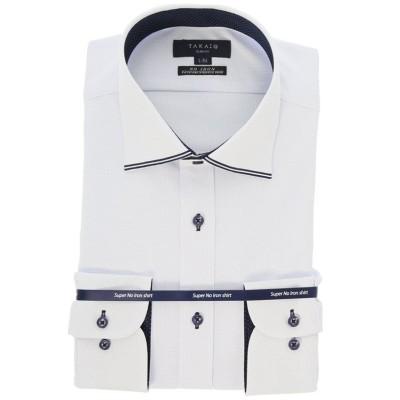 【タカキュー】 ノーアイロンストレッチ スリムフィットワイドカラー長袖ニットビジネスドレスシャツ/ワイシャツ メンズ サックス M:39-80 TAKA-Q