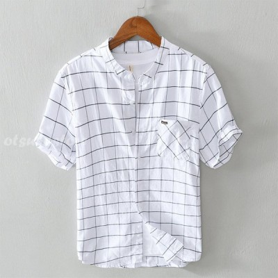 綿シャツ メンズ 半袖 チェック柄 カジュアルシャツ 開襟シャツ 通気 春 夏 トップス シンプル おしゃれ