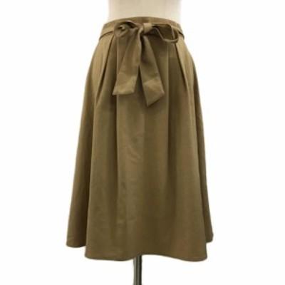 【中古】ナチュラルビューティーベーシック スカート フレア ひざ丈 タック リボンベルト付き 無地 L キャメル 茶