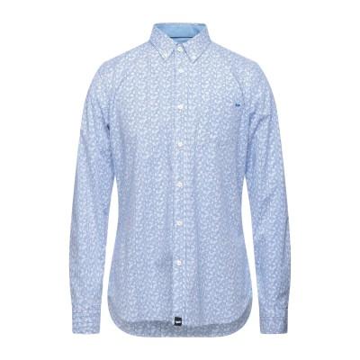 GAS シャツ ブルー XL コットン 97% / ポリウレタン 3% / リネン シャツ