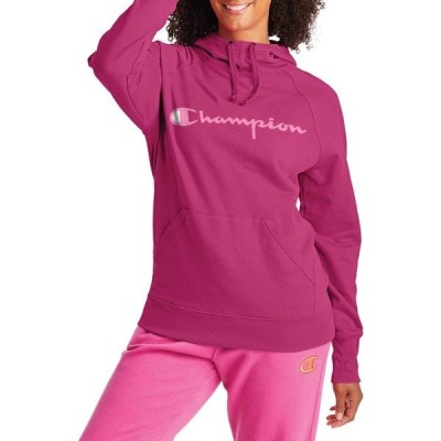 チャンピオン パーカー・スウェットシャツ アウター レディース Champion Women's Script Logo Powerblend Fleece Hoodie FantasticFuschia