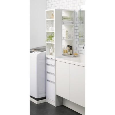 収納物が取り出しやすい3面オープンすき間収納庫 幅30cm ホワイト