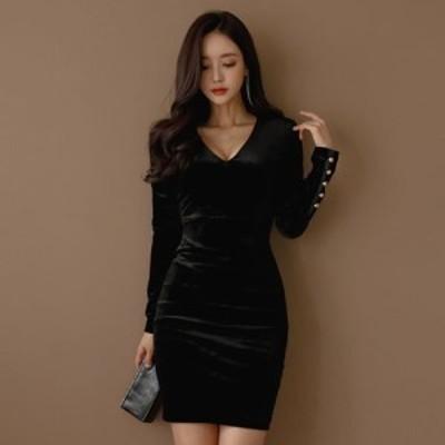 キャバ ドレス キャバドレス ミニドレス シック シンプル ベーシック 大人 フィット感 高見え ワンピース ブラック S M L XL