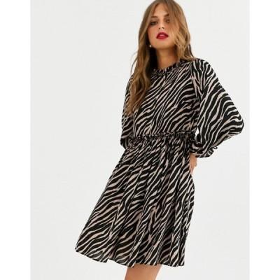 ワイエーエス レディース ワンピース トップス Y.A.S zebra print high neck dress