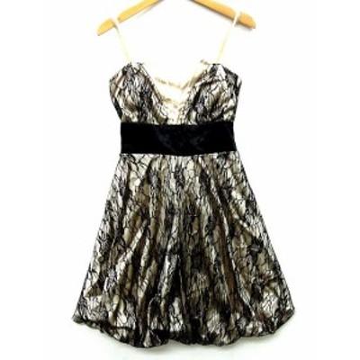 【中古】イチオク ドレス キャミ ワンピース レース バックリボン バルーンスカート ブラック ベージュ レディース