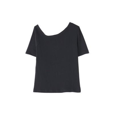 ◆三角テレコアシメネック半袖カットソー ブラック