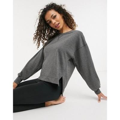 ナイキ レディース シャツ トップス Nike Yoga loose fit crew neck sweatshirt in black heather