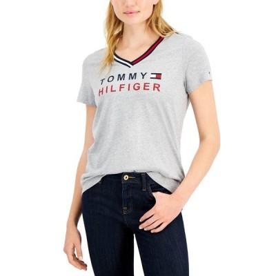 トミー ヒルフィガー カットソー トップス レディース V-Neck Logo T-Shirt Stone Grey Heather