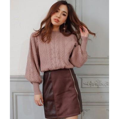 スカート Fレザ−/スエード切替ZIPスカート