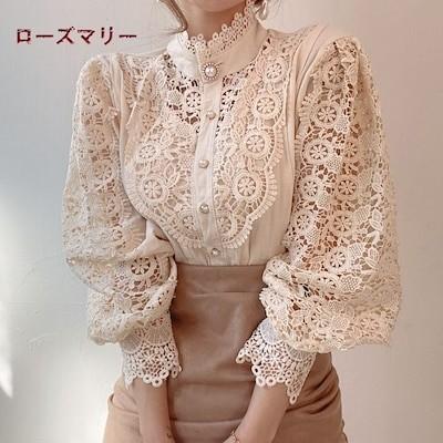 ローズマリー 韓国ファッション2020 九月 新品販売 フランス風 ゆったりレースシャツ 長袖シャツ トップス ベーシック 大人気 2009412