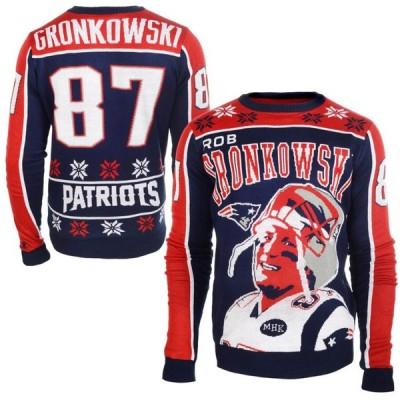 NFL スウェット ロブ・グロンコウスキー ペイトリオッツ トレーナー アグリー セーター ニット Klew ネイビー