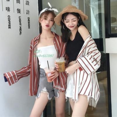 2020 ボタンカーディガン 大人気 長袖 全2色 韓国風 ストライプ柄 新作 春夏