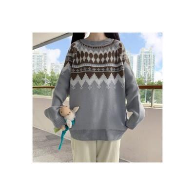 【送料無料】日系 カレッジ風 ルース 何でも似合う ティーヘッジ ニットのセーター 女 秋と冬 怠惰 | 346770_A64183-4622401