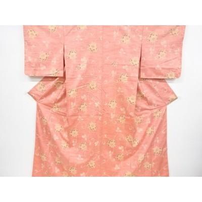 宗sou 唐花模様手織り紬着物【リサイクル】【着】