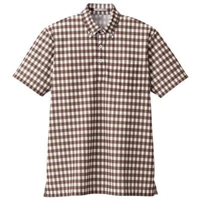ボンマックス チェックプリントポロシャツ(半袖) 男女兼用 ブラウン M FB4523U(直送品)