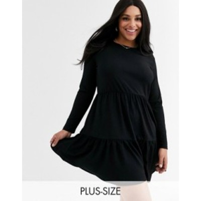 ニュールック レディース ワンピース トップス New Look Curve long sleeve tiered smock dress in black Black