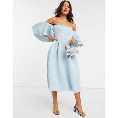 エイソス ミディドレス レディース ASOS DESIGN boned corset bardot prom midi dress in blue エイソス ASOS ブルー 青