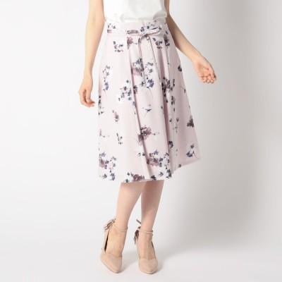 ミッシュマッシュ MISCH MASCH 細紐付き花柄フレアスカート (ピンク)