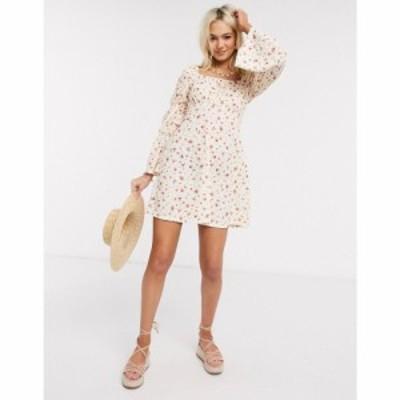 エイソス ASOS DESIGN レディース ワンピース バブルドレス ワンピース・ドレス Mini Tea Dress With Bubble Ruched Sleeve In Floral Pr