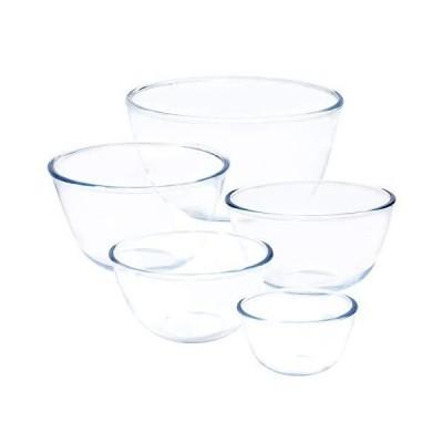 Kitsure 耐熱ガラス ボウル 5個セット 透明 丸型 サラダボウル(500ml/700ml/1000ml/1.5L/2.5L)電子レンジ・食洗機