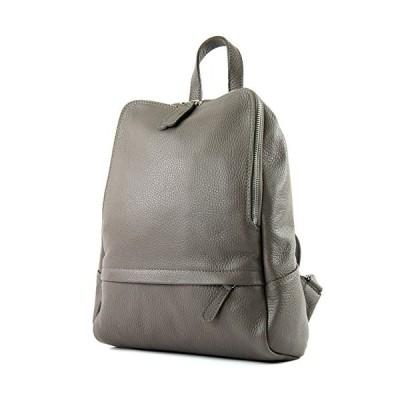 modamoda de - ital. Leather Backpack Ladies Backpack Rucksack Bag Citybag Leather T138, Colour:beige gray 並行輸入品
