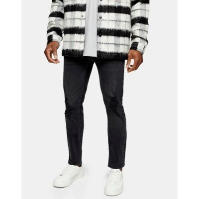 トップマン Topman メンズ ジーンズ・デニム スキニー ボトムス・パンツ skinny jeans with rip in washed black ブラック