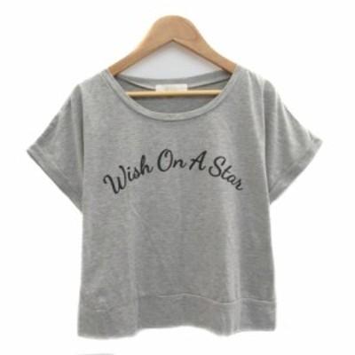 【中古】グローブ Tシャツ カットソー ラウンドネック 半袖 ロールアップ プリント ショート M グレー 黒 レディース