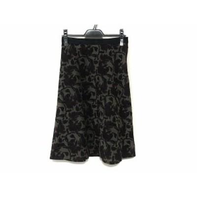 ランバンコレクション LANVIN COLLECTION スカート サイズ38 M レディース 美品 ベージュ×黒×レッド 刺繍/花柄【中古】20200624