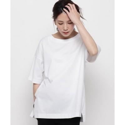 tシャツ Tシャツ サイドスリット5分袖カットソー