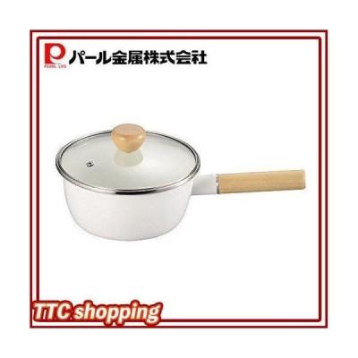パール金属 アミィ ホーロー ガラス蓋 片手鍋 18cm ホワイト HB-802