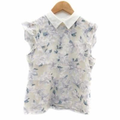 【中古】リランドチュール ブラウス カットソー ノースリーブ フリル チュール 花柄 1 ブルー レディース