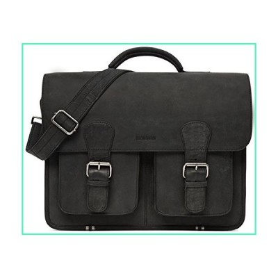 LEABAGS Atlanta Briefcase of Genuine Buffalo Leather in Vintage Look - Anthracite並行輸入品