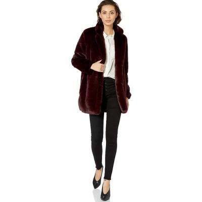 ASTR the label Women's Soft Collared Faux Fur Long Coat, Plum, s
