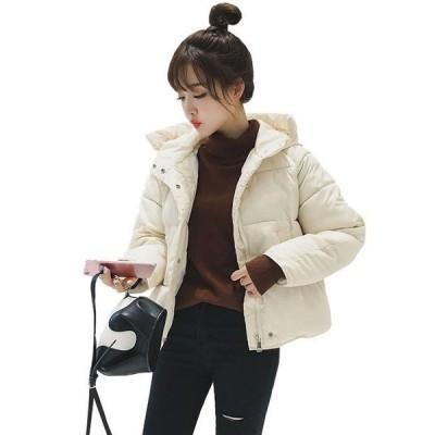 母の日 レディース ダウンジャケット 防寒 暖かい 厚手 ダウンコート 中綿 ショート丈 フード付き ゆったり シンプル カジュアル 大きいサイズ