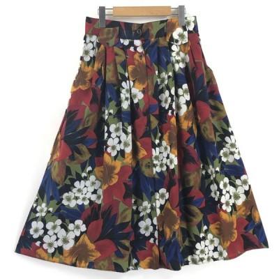 古着 花柄スカート プリントスカート ボタニカル プリーツ マルチカラー レディースL 中古 n025110