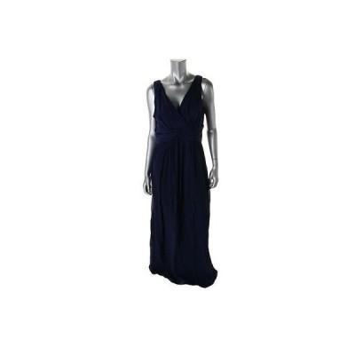 ドナモーガン ドレス ワンピース Donna Morgan 2043 レディース ネイビー シルク Prom ノースリーブ Evening ドレス 10 BHFO