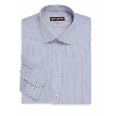 ヒッキーフリーマン メンズ ドレスシャツ ワイシャツ Non-Iron Thin Stripe Cotton Dress Shirt