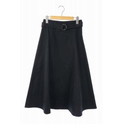 【中古】ロペ ROPE 20SS ロングスカート フレア ベルト付き 38 黒 ブラック /CM ■OS ■SH レディース
