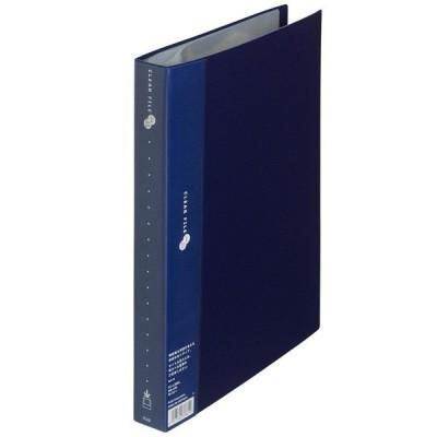 プラス スーパーエコノミークリアーファイル A4タテ 60ポケット ネイビー 紺 固定式 FC-126EL 88441