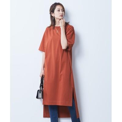 【大きいサイズ】 シックスタイル 綿100%半袖バックロングチュニックTシャツ plus size tops, テレワーク, 在宅, リモート