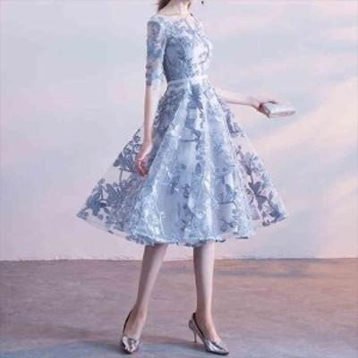 レディース ドレス パーティードレス Aライン フレア 華やか ふんわり 透け感 シースルー 半袖 袖あり 五分袖 ひざ丈 ブルー ネイビー ベ