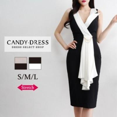 S/M/L 送料無料 Luxury Dress ストレッチ無地×バイカラーショール風襟デザインノースリーブタイトミディドレス GC200203 膝丈 ワンピー