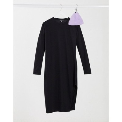 ミスガイデッド レディース ワンピース トップス Missguided side slit midi dress in black with belt
