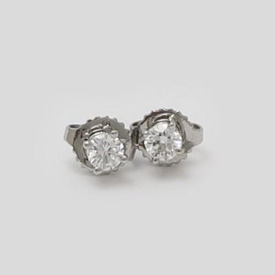 【中古】ティファニー ソリティア ダイヤモンド ピアス プラチナ Pt950 約1.3g
