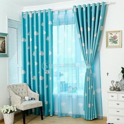 [ノーブランド 品] ホーム インテリア 100 * 250cm 雲パターン ウィンドウカーテン 薄手 窓パネル 雰囲気 ロマンチック ブルー
